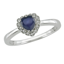 Tangelo 5/8 ct Sapphire and 0.07 ct Diamond Heart Shape Ring in 10 K White Gold 7.5