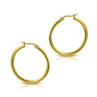 Pure316 Women's 20mm Gold Plated Plain Round Hoops