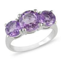 Tangelo 3 1/4 ct Amethyst Three-Stone Ring in Silver 7.5
