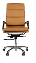 Office Chair, Lark high back in tan color. Chrome base