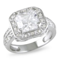 Miabella 5 3/5 ct White Cubic Zirconia Engagement Ring in Silver 8.5