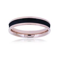 Pure316 Women's Rose Gold Plated Black Ceramic Strip Ring 6