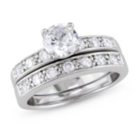 Miabella 2 1/3 ct White Cubic Zirconia Bridal Set in Silver 7.5