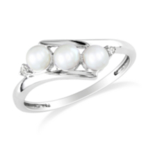 Miabella 3.5-4 mm FW White Pearl and 0.013 ct Diamond Ring in 10 K White Gold 7