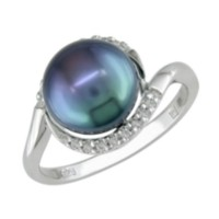 9-9.5 mm Freshwater Black Pearl and 1/10 ct Diamond Ring in Silver 5.5