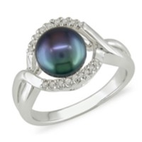 7.5-8 mm Freshwater Black Pearl and 0.06 ct Diamond Ring in Silver 9