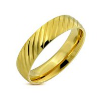 Pure316 Men's 6 mm Gold Plated Diagonal Stripe Comfort Fit Half-Round Wedding Band Ring 10