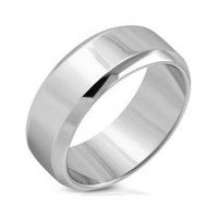 Pure316 Men's Engravable Beveled Edge Half-Round Wedding Band Ring 12