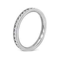Pure316 Women's Cubic Zirconium Channel-Set Eternity Comfort Fit Wedding Band Ring 8