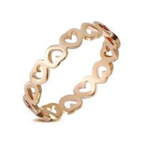 Pure316 Women's Rose Gold Plated Open Love Heart Link Ring 6