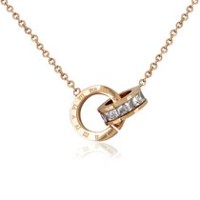 Pure316 Women's Rose Gold Plated Interlocking Numeral Eternity CZ Necklace