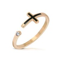 Pure316 Women's Rose Gold Plated Two-tone Latin Cross Open Ring 7