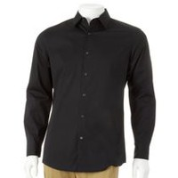 George Men's Slim Fit Dress Shirt Black L