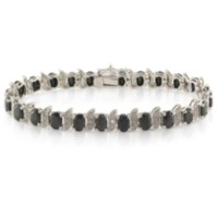 Sapphire and Diamond Accent Silver Bracelet - 7""
