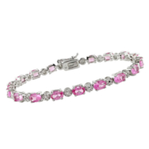 "Tangelo 13.5 Carat Created Pink Sapphire and 0.02 Carat Diamond Bracelet in Silver 7.25"" in length"