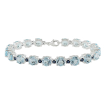 Tangelo 29 1/2 ct Sky Blue Topaz and Sapphire Bracelet in Silver 7 3/4 inches in length