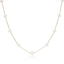 Miabella 5.5-6 mm Freshwater Tin-Cup Style Pearl Necklace in 10 K Yellow Gold 17 inches