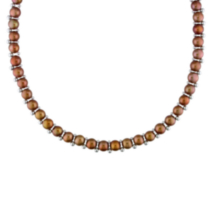 6-7 mm Freshwater Brown Button Pearl Necklace with 2 mm & 3 mm Silver Bead in Silver