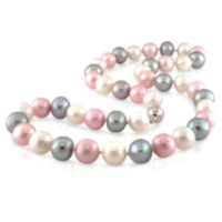 Tangelo 9-10 mm Freshwater Multi-Coloured Pearl Necklace with Silver Ball Clasp; 18""
