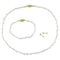 Miabella Freshwater Flat White Pearl Necklace and Bracelet (4-5 mm) and Stud Earrings (5-6 mm) Set; Gold Tone