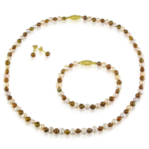 Tangelo Freshwater Flat Pink and Brown Pearl Necklace and Bracelet (4-5 mm) and Stud Earrings (5-6 mm) Set; Gold Tone