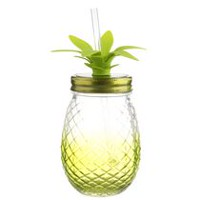 hometrends Pineapple Glass Mason Jar with Straw