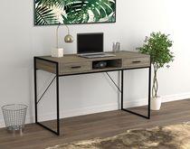 Safdie & Co. Computer Desk Dark Taupe 2 Drawers 1 Shelf Black Metal