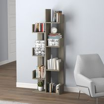 Safdie & Co. Wall Shelf Dark Taupe 8 Staggered Shelves Concept