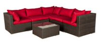 Patio Flare Napier Wicker Black Sofas & Sectionals Set with Red Cushions
