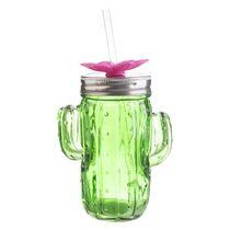 Hometrends Cactus Glass Mason Jar With Straw Walmart Canada