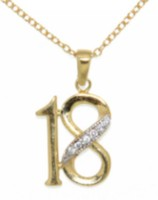 "Sterling Silver and Gold Plated ""Number 18"" Pendant with Cubic Stones On A 18"" Chain"