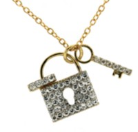 "Sterling Silver and Gold Plated Lock/Key Pendant with Cubic Stones On A 18"" Chain"