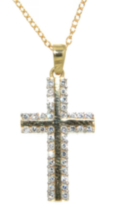 "Sterling Silver And Gold Plated Cross Pendant With Cubic Stones On A 18"" Chain"