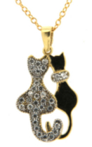 "Sterling Silver And Gold Plated ""Cat"" Pendant With Cubic Stones On A 18"" Chain"