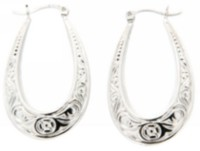 Sterling Silver Fancy Oval Hoop Earring