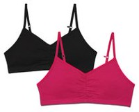 George Girls' 2-Pack Training Bra Pink/Black L