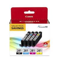 Canon CLI-281 Noir, Cyan, Magenta, Jaune, Emballage économique