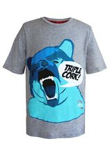"TRIPLE CORK by MARK McMORRIS Boys Graphic Tee "" Screaming Bear"" Design Grey M"
