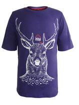 "TRIPLE CORK by MARK McMORRIS Boys Graphic Tee "" Screaming Bear"" Design Purple/Blue M"