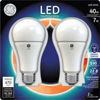 General Electric 7W Soft White LED Bulb A19 - 2 Pack