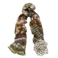 George Women's Wrap Printed Scarf Green