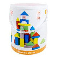 Tooky Toy Wooden 50pc Bucket Blocks