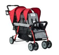 Foundations 3 Passenger Stroller Red