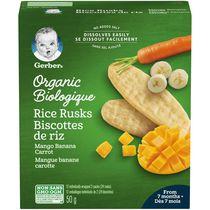 Biscottes de riz GERBER® Biologique Mangue Banane Carotte 24 biscottes, 50 g