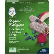 Biscottes de riz GERBER® Biologique Bleuet Pomme Betterave 24 biscottes, 50 g