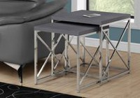 Monarch Specialties 2 Piece Grey Nesting Table Set