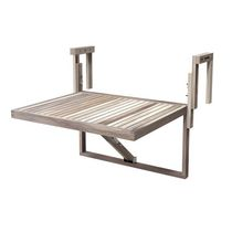 Stockholm Acacia Balcony Table by Interbuild in Organic White finish 24in x 18in