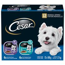 Cesar Entrées 6x Pork Tenderloin and 6x Top Sirloin Food for Small Dogs