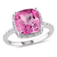 Tangelo 5.75 Carat T.G.W. Created Pink Sapphire and Diamond-Accent Sterling Silver Halo Cocktail Ring 6