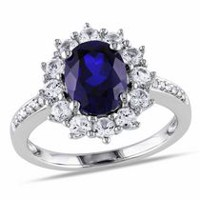 Tangelo 4 Carat T.G.W. Created Blue and White Sapphire Diamond-Accent Sterling Silver Halo Ring 6.5